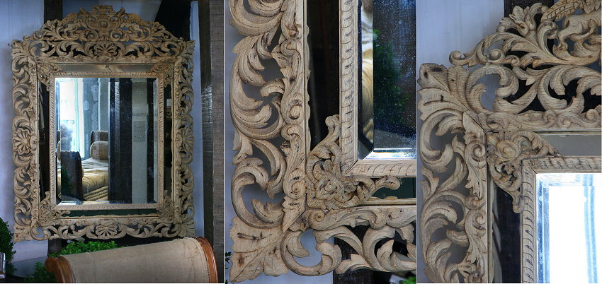 imposing 19c French carved oak mirror - lantiques