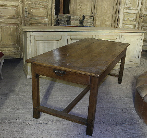 19c French farmhouse table in blonde fruitwood - lantiques